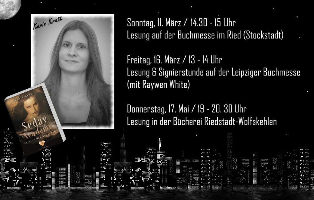 """Lesungstermine zu """"Seday Academy"""" von Fantasy-Autorin Karin Kratt"""