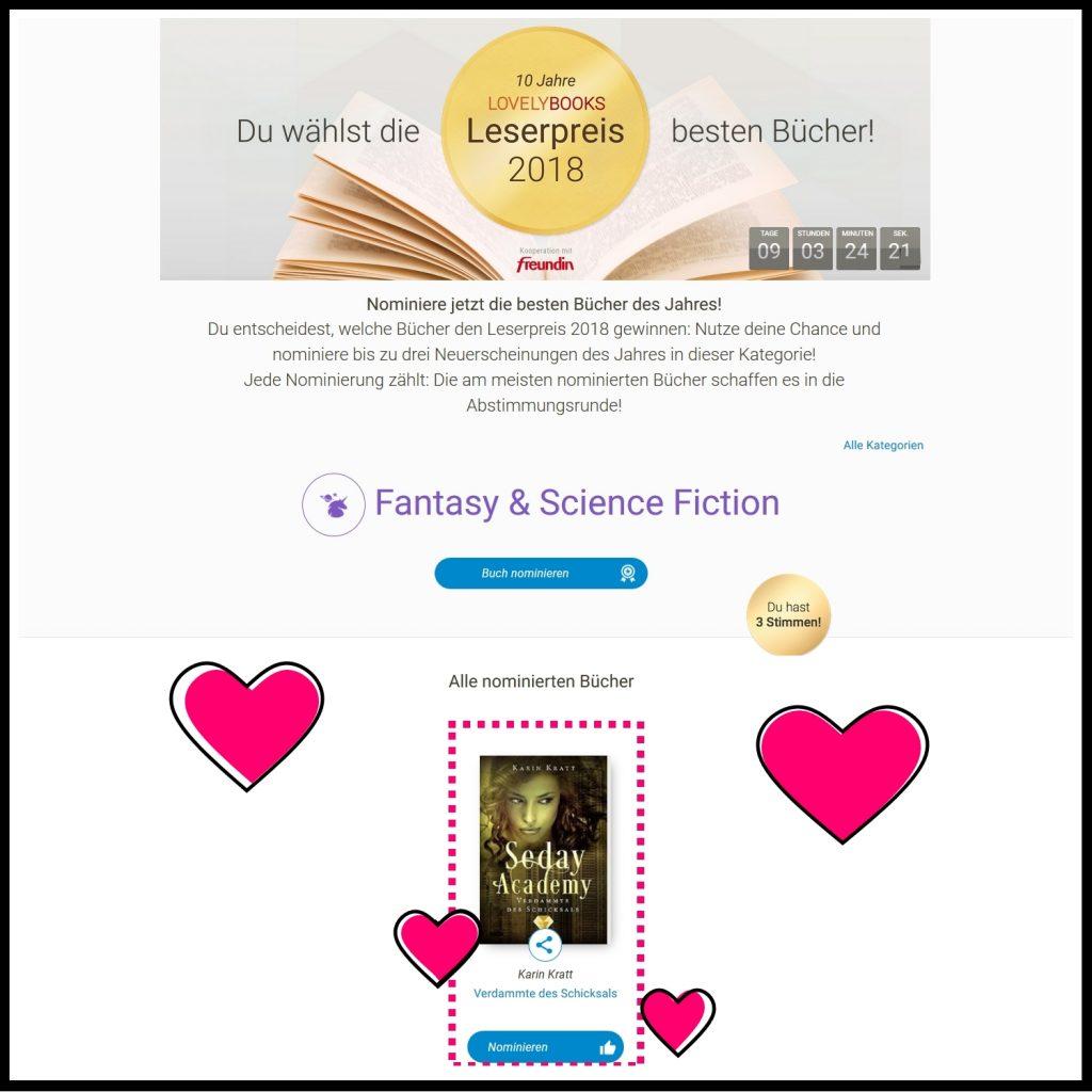 """Seday Academy Band 6"" für LovelyBooks Leserpreis 2018 nominiert"